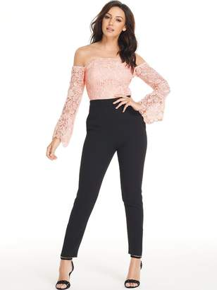 Michelle Keegan Lace Body Tapered Leg Jumpsuit