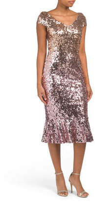 Midi Flounce Dress With Ombre Sequins