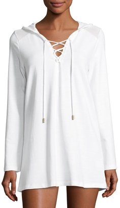 Athena Alisa Hooded Tunic Coverup, White $85 thestylecure.com