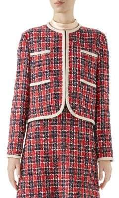 Gucci Women's Long-Sleeve Tweed Four-Pocket Jacket - Red - Size 40 (4)