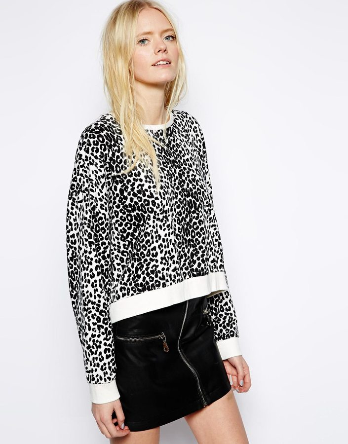 Just Female Leopard Print Sweat Shirt