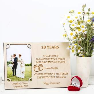 Natural Gift Store 10th Wedding Anniversary Personalised Photo Frame