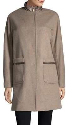 Ellen Tracy Plus Wool Blend Topper Coat