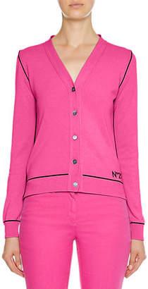 No.21 No. 21 V-Neck Button-Front Cotton Cardigan