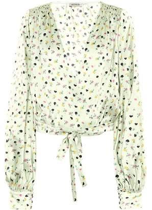 ATTICO Floral-printed silk satin top