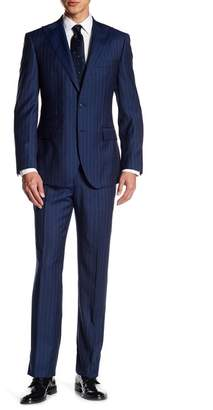 English Laundry Dark Blue Pinstripe Two Button Peak Lapel Wool Trim Fit Suit
