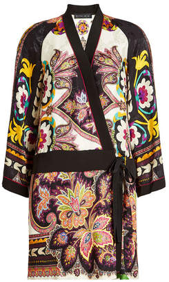 Etro Printed Wrap Dress with Silk