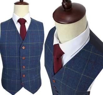 Yunjia Mens Premium Wool Blend Tweed Herringbone Check Plaid 5 Buttons Waistcoat Suits Vest,L,Coffee