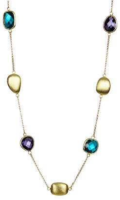 Rivka Friedman Faceted Iolite & London Blue Crystal Pebble Satin Necklace