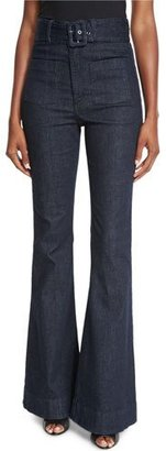 n/nicholas Belted High-Waist Flare-Leg Jeans, Indigo $285 thestylecure.com