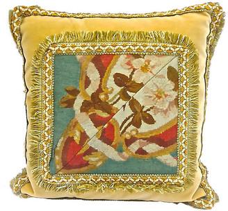 One Kings Lane Vintage 19th C Velvet Fl Aubusson Pillow Vermilion Designs