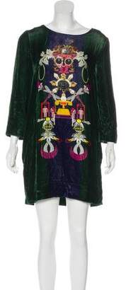 Mary Katrantzou Long Sleeve Velour Mini Dress