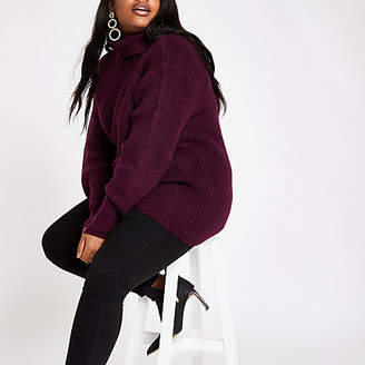 River Island Plus burgundy chunky knit roll neck sweater