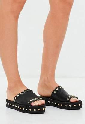 Missguided Black Studded Flatform Espadrille Sliders