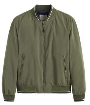 MANGO Contrast striped bomber jacket