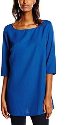 Mexx Women's Plain Long Sleeve Blouse Blue Blau (Estate Blue 486) 8