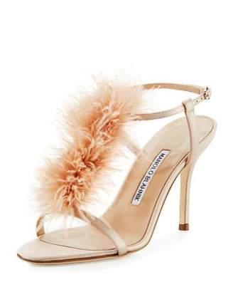 Manolo Blahnik Elia Feather T-Strap 105mm Sandal $895 thestylecure.com