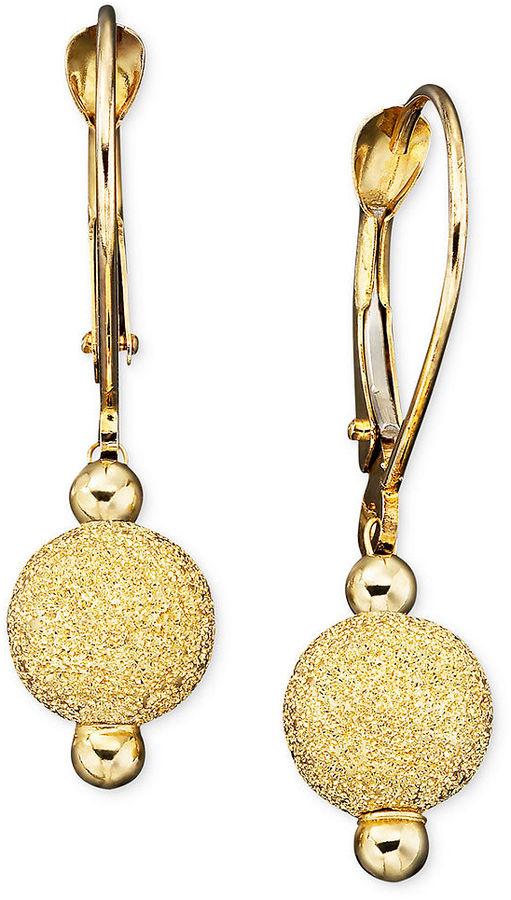 10k Gold Earrings, Laser Cut Bead