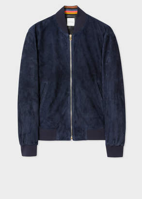 Paul Smith Men's Dark Navy Suede Bomber Jacket