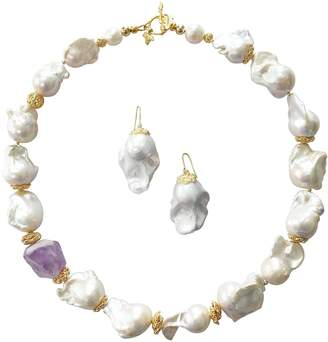 Farra - Natural White Baroque Pearls with Quartz Necklace & Earrings Gift Set