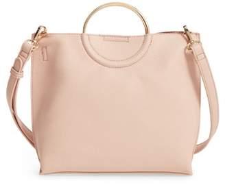 BP Metal Handle Faux Leather Crossbody Bag