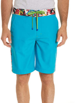 Robert Graham Dos Rios Graphic-Trim Swim Trunks with Wet/Dry Color-Change Effect
