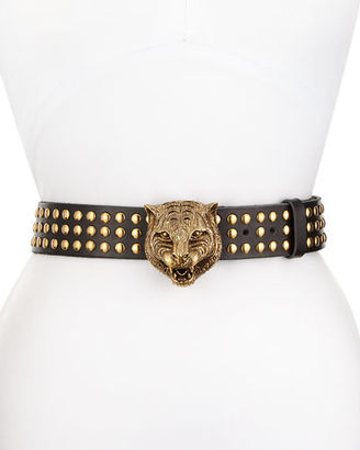 Gucci Studded Leather Tiger-Buckle Belt $1,390 thestylecure.com