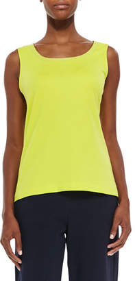 Joan Vass Sequined Trim Tank, Wild Lime, Plus Size