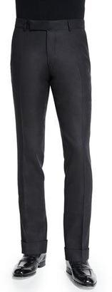 TOM FORD Buckley Base Twill Melange Trousers, Black $1,320 thestylecure.com