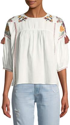 Free Generation Crewneck Elbow-Sleeve Embroidered Cotton Babydoll Blouse w/ Tassel Trim