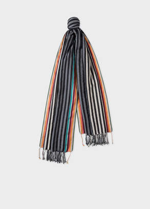 Paul Smith Men's Black And Grey Stripe Cotton-Silk Scarf