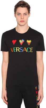 Versace Embroidered Hearts Cotton Jersey T-shirt
