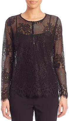 SET Women's Button Front Lace Blouse