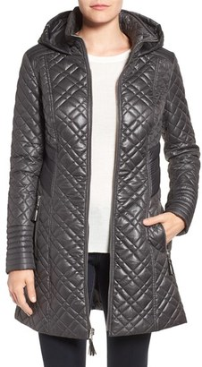 Women's Via Spiga Tassel Detail Hooded Mix Quilt Coat $198 thestylecure.com