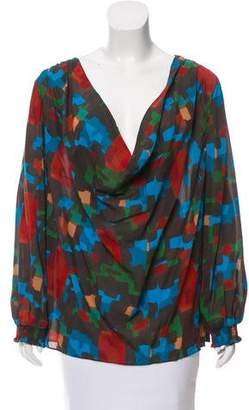 Alice + Olivia Silk Cowl Neck Top