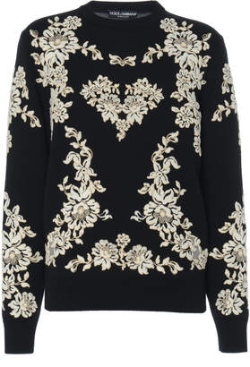 Dolce & Gabbana Floral-Embroidered Wool Sweater