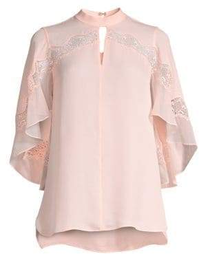Elie Tahari Women's Jaylah Lace Detail Silk Blouse - Soft Powder - Size Small