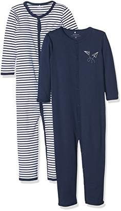 Name It Baby Boys' NMMNIGHTSUIT 2P NOOS Sleepsuit, Multicolour Dress Blues, Pack of 2