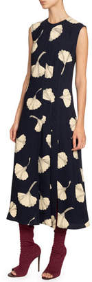 Victoria Beckham Silk Paneled Midi Dress