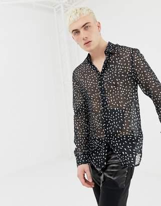 Asos Design DESIGN regular fit black sheer shirt with dot print