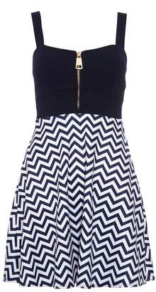 Quiz Navy And Cream Skater Dress