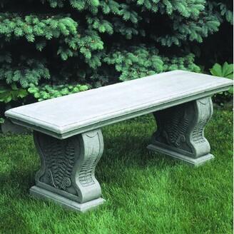 Campania International Straight Woodland Ferns Cast Stone Garden Bench