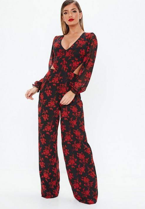 Black Floral Frill Open Back Jumpsuit, Black