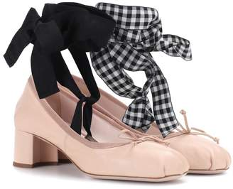 Miu Miu Leather ballerina pumps
