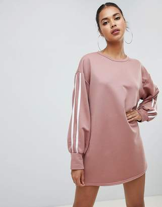 PrettyLittleThing contrast sleeve oversized sweater dress in pink