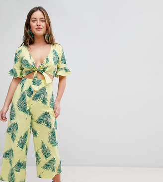 Asos DESIGN Petite tea jumpsuit with cut out and tie detail in linen in leaf print