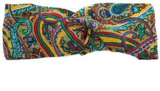 Etro Paisley Print Silk Headband - Womens - Yellow Multi