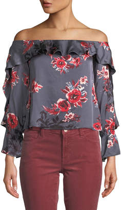 Lovers And Friends Addie Off-the-Shoulder Floral Cropped Blouse