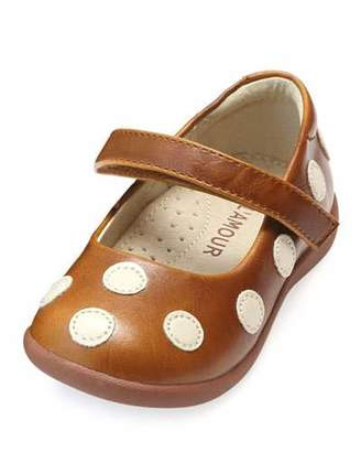 L'Amour Shoes Mara Polka-Dot Leather Mary Jane, Size Baby/Toddler/Kids