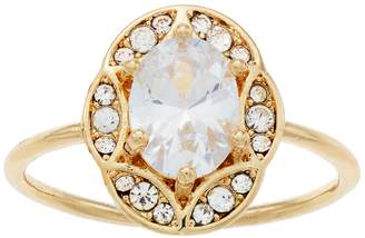 Lauren Conrad Gold Tone Cubic Zirconia Oval Ring